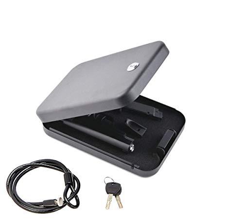 BILLCONCH Metal Handgun Safe, Mini Car Safe Jewelry Box Gun Safe ,Portable Key Lock Safe Pistol Box with Security Cable (Black Mini Key safe)