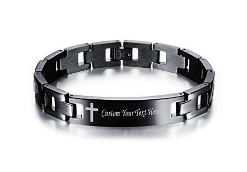 LMXXV Personalized Inspirational Scripture Bible Verse Black Stainless Steel Adjustable WristbandFree Remove Tool