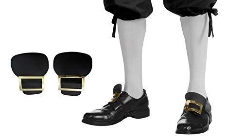 Colonial Pilgrim Gold Shoe Buckles White Knee High Stockings Socks Costume Set
