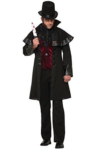 Forum Men's Jack The Ripper Deluxe Costume, Black/Red, STD -