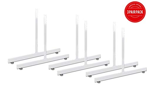 White Gridwall T Base Rectangular Tube With Levelers (Set of 3 Pairs) White Finish ... ()