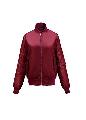 LUOUSE-Women-Vintage-Bomber-Jacket-Classic-Zip-up-Biker-Jacket-Stylish-Padded-Coat
