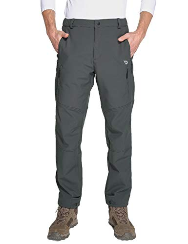 Baleaf Men's Winter Hiking Ski Pants Mountain Trousers Fleece-Lined Water-Resistant Windproof Insulated Grey XXL