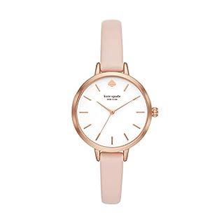 Kate Spade New York Women's Metro Quartz Watch with Leather Strap, Pink, 10 (Model: KSW1501)
