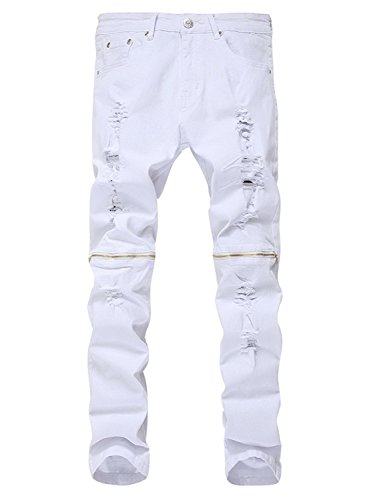 LAMCORD Upreface Men's Ripped Skinny Distressed Destroyed Sl