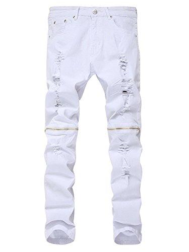 Zipper Denim Men Jeans - 3