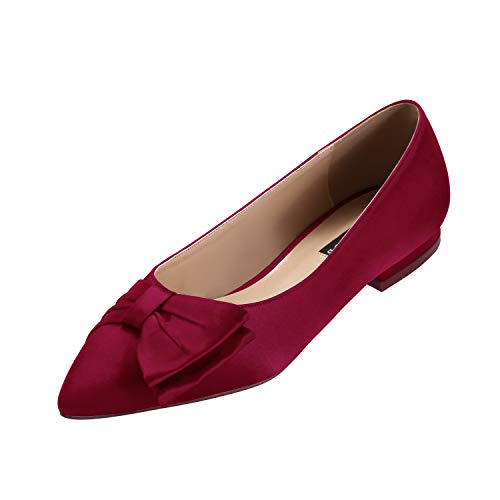 Image of ERIJUNOR Wedding Flats Comfortable Flat Shoes for Women Closed Toe Wide Width Evening Party Dress Shoes