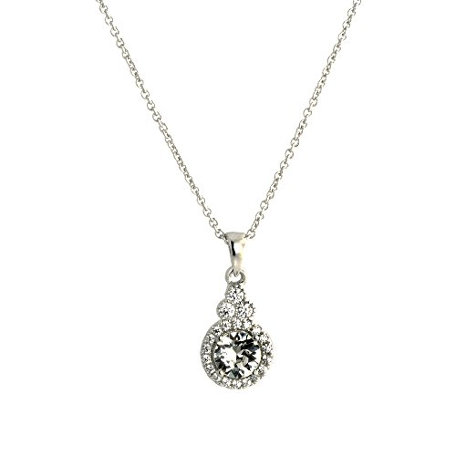 Pop Fashion 18k White Gold, Round, Halo, Swarovski Crystal, Silver, Pendant, Necklace, Drop Necklace, Delicate, Gifts for Her