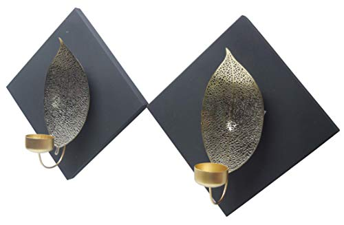 Decozen Wall Art Handcrafted Square T-Light Holder with Carved Leaf Accent Handcrafted Metallic Wall Décor for Living Room Hallway Set of 2 Available in Two Size Variants ()