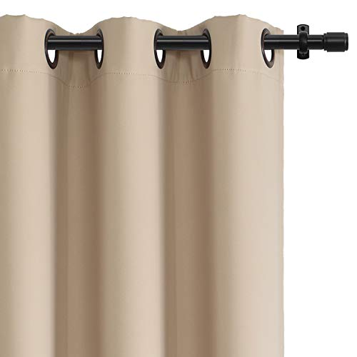 Rose Home Fashion RHF Blackout Thermal Insulated Curtain - Antique Bronze Grommet Top for Bedroom or Living Room,Grommet Curtain, Sold as 1 Panel,52W by 84L Inches-Beige (94 Patio Door Inch Sliding)