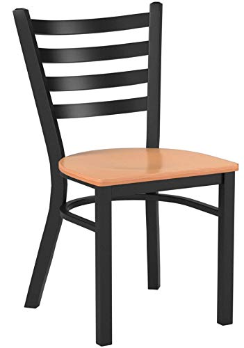 Flash Furniture HERCULES Series Black Ladder Back Metal Restaurant Chair - Natural Wood Seat by Flash Furniture (Image #5)