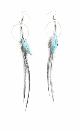 Boucles d'oreille plume pt anneau 12 cm ton bleu - Ruby Feathers