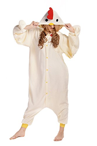 Newcosplay Unisex Adult White Chicken Cosplay Pajamas Halloween Anime Costume (M) (Chicken Costumes For Adults)
