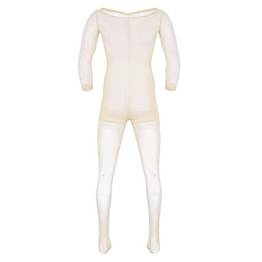 Zdhoor Men Sheer See Through Sheath Full Body Pantyhose Long Sleeve One Piece Bodysuit Catsuit Nude One Size