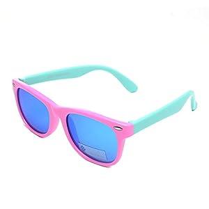 DIRSA Rubber Flexible Kids Polarized Sunglasses Glasses for Boys Girls Child Age 3-10 (Pink&Mint Green   Blue Mirrored Lens, black)