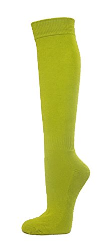 Couver Premium Quality Youth/Kids Knee High Cotton Softball, Baseball, Multi-Sports Socks(Lime Green, Youth Small)