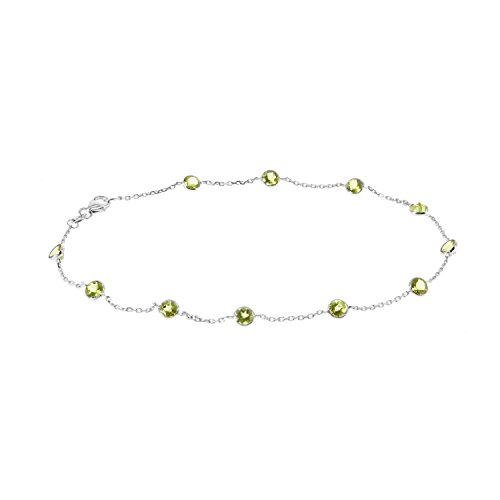 14k White Gold Handmade Station Anklet With Peridot Gemstones 9-11 Inches -