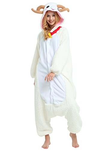 Sheep Onesie for Adults and Teenagers, Halloween Animal Pajama Costume for Women and Men (Small)]()