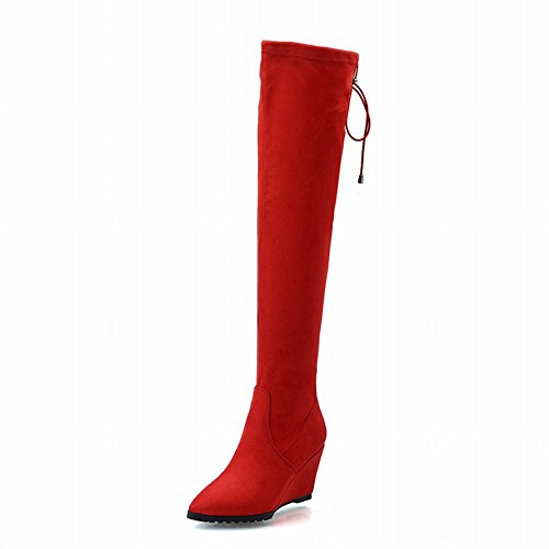 Carolbar Womens Pull-on Lace up Pointed Toe Fashion Date Party Wedge Heel Tall Dress Boots Red