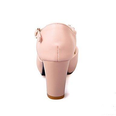 LvYuan Tacón Robusto-Zapatos del club-Sandalias-Oficina y Trabajo Vestido Informal-PU-Negro Rosa Blanco White