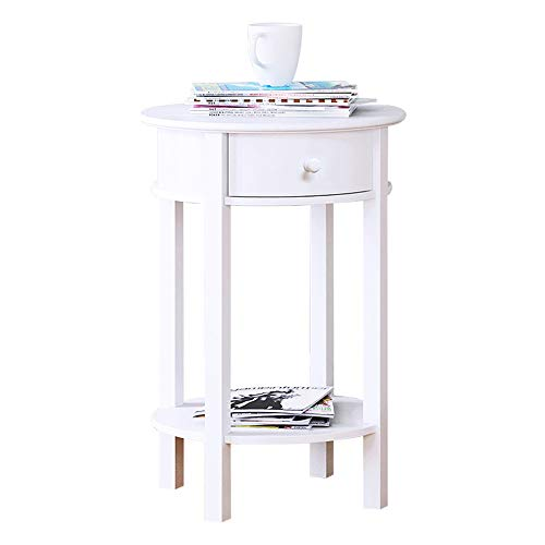 Tables ZR- Nordic Round Sofa Side End Living Room Leisure Mini Coffee with 1 Drawer Locker Bedroom Bedside Cabinet White Furniture