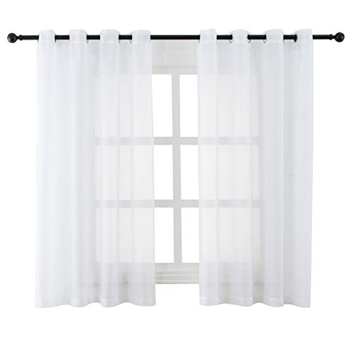 White Sheer Curtains Voile Grommet Semi Sheer Curtains for Bedroom Living Room Set of 2 Curtain Panels 54 x 45 inch