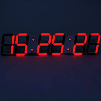 Y-Hui Fuente grande habitación Reloj de pared Reloj Calendario reloj electrónico digital estéreo,Otros,negro: Amazon.es: Hogar