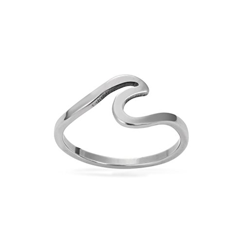 GoldeaDream Stainless Steel Fashion Wave Ring Size 7 Statement Jewelry for Women Teen Girls-GD047-S7 (Stainless Wave Ring Steel)