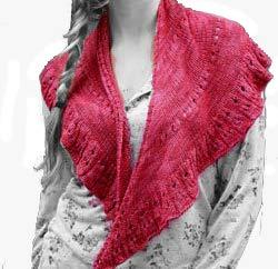Shawl Knit Kit in Reserve Sport (Silk/Bamboo/Merino Blend) Yarn- Red Berry