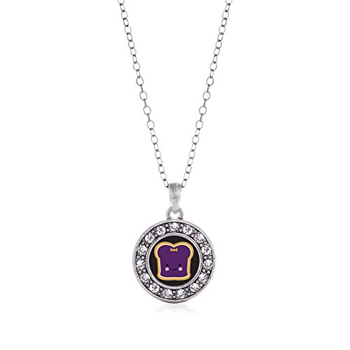 Inspired Silver - Jelly Charm Necklace for Women - Silver Circle Charm 18 Inch Necklace with Cubic Zirconia Jewelry