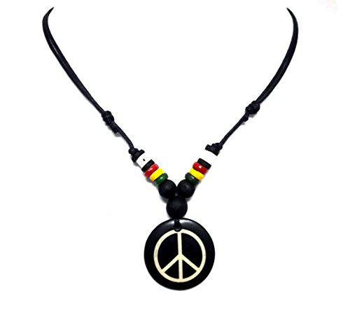 Hippie Cord Hemp (Rasta plaided Hippie Braid Hemp Hawaiian Peace Symbol Necklace - Peace Sign Pendant)