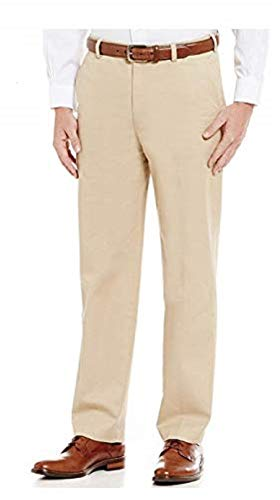 Brooks Brothers Clark Fit Flat Front Pieced Dyed Supima Cotton Blend Chino Pants (Light Beige, 32W x 30L)