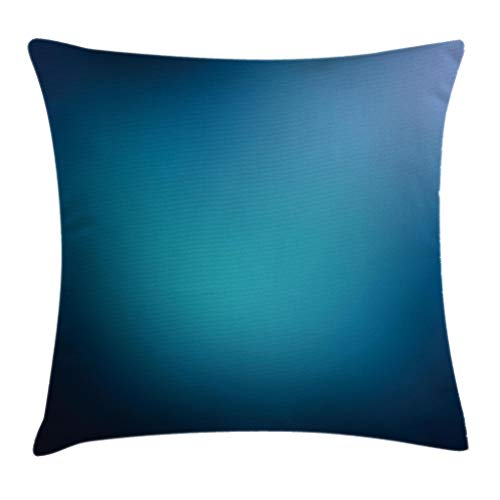 Navy Blue Throw Pillow Cushion Cover, Abstract Vibrant Shaded Digital Color on Plain Background Bohemian Print, Decorative Square Accent Pillow Case, 20 X 20 Inches, Turquoise Navy Blue