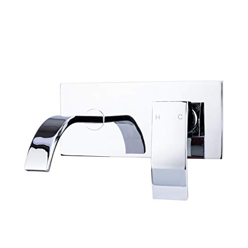 BRIENZA BY ITALIA, 83H23-W-CHR, MODERN WALL MOUNT 1 HANDLE SINGLE CONTROL LAVATORY BATHROOM OR POWDER ROOM FAUCET FIXTURE TAP WITH RIBBON SPOUT - CHROME