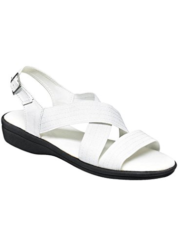 AmeriMark Womens Adult Cross Strap Sandal Synthetic Complements Exclusives White cFWoa