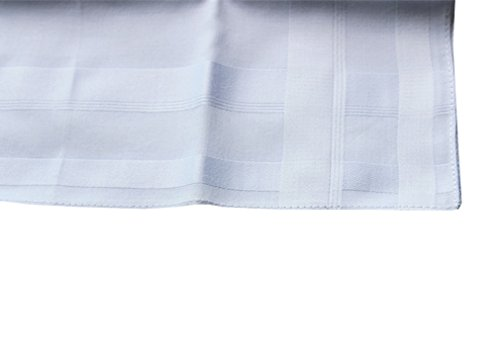 2 Pattern -Men's Cotton Handkerchiefs Solid White Large 17x17'' Hankies by MileyMarla (Image #4)