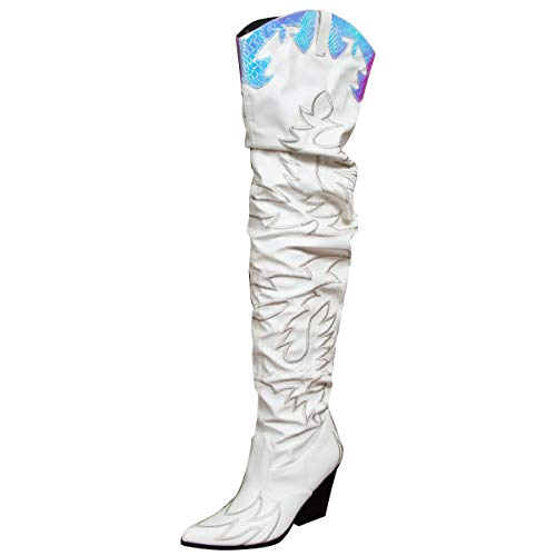 CAPE ROBBIN Kelsey-21 Blue Stitch Rock Star Western Pointed Slouchy Over Knee Thigh Boot