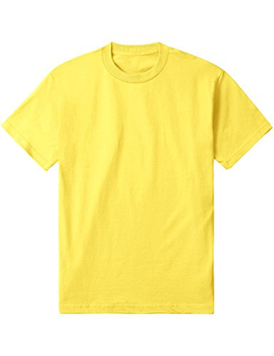 Hat and Beyond Mens Basic Round Neck T Shirts Solid Short Sleeve Tee S-3XL (2X-Large, 1TA0002_Yellow) ()