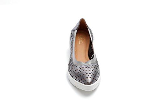 Ballerina Gomma Donna suola Forata Metallic Parma Pretty Pelle Nana Antracite 330451 Comoda Pelle con RXqWpw