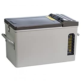 Engel 16 qt. Portable Top-Opening AC/DC Fridge/Freezer 5 Engel MT-17 Portable top-opening 12/24V DC - 110V/120V AC fridge-freezer. Highly Efficient Engel Swing Motor - Low Amp Draws (even at start-up) Typically draws around 1 to 2 Amps per hour on DC.