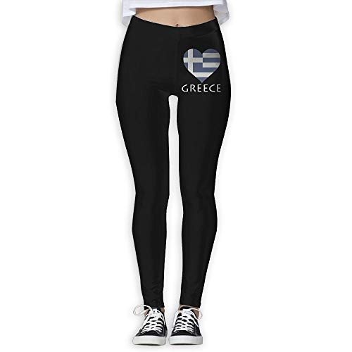 NO2XG I Love Greece Flag Heart Women's Full-Length Workout Leggings Yoga Pants by NO2XG