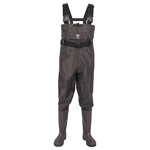 TideWe Bootfoot Chest Wader, 2-Ply Nylon/PVC Waterproof Fishing & Hunting Waders for Men and WomenBrown Size 11