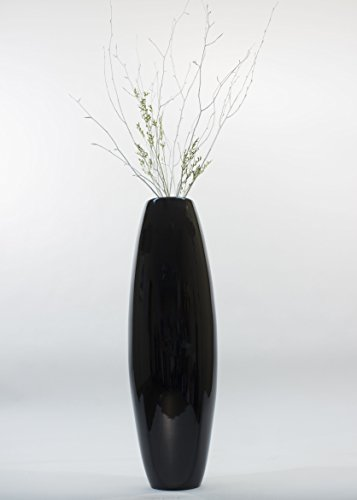 GreenFloralCrafts 47 in. Bamboo Cylinder Floor Vase - Lacquer Black & Silver Branches