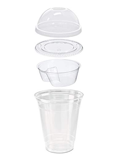 - Pack of 25 Clear Plastic Parfait Cup 12 oz with Insert, Flat Lid and Dome Lid w/ FDL Party Picks