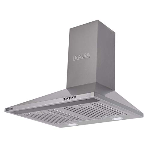Inalsa 60cm, 875 m³/hr Kitchen Chimney Smash 60 SSBF with SS Baffle Filter, Push Button Control, (Silver)