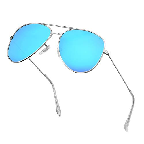 Polarized Aviator Sunglasses for Men Metal Mens Sunglasses Driving Unisex Classic Sun Glasses for Men/Women Blue