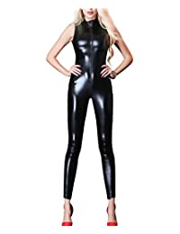 Women's Zipper Front Sleeveless Catsuit Sexy Bodysuit Jumpsuit Lingerie Costume