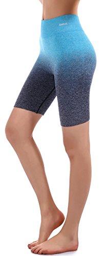 "RUNNING GIRL 3Pack Ombre Shorts 7.5"" Yoga Running Bike Active Shorts Power Flex High Waist Tummy Control(2148 - Running 4 Shorts"