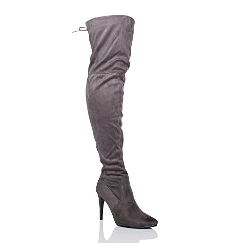 high The Stretch Womens Grey Toe Knee Up Pointed Over Riding Elastic Ajvani Heel Boots Size Ladies Lace Suede qR0zdfE