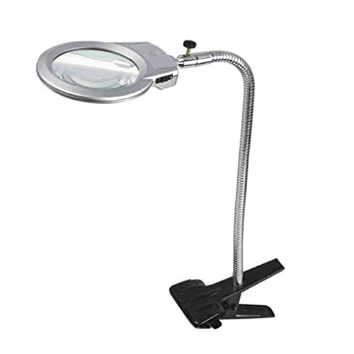 Reading Magnifier Desktop Magnifier with LED Lamp Beads, 10x HD Adjustable Bracket, Elderly Reading and Inspection Clocks, Electronic Phone Repair Ornamental Inspection